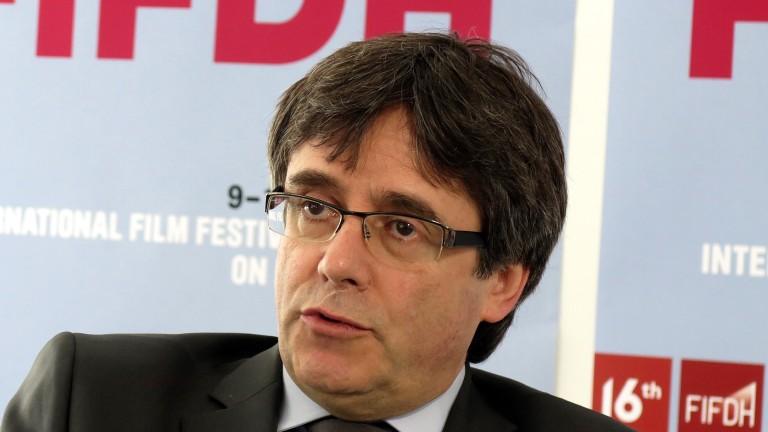 Former Catalan leader Carles Puigdemont in Geneva